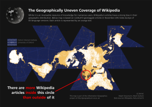 The map above shows the geographic distribution of geotagged Wikipedia articles. Information Geographies at the Oxford Internet Institute. http://geography.oii.ox.ac.uk/
